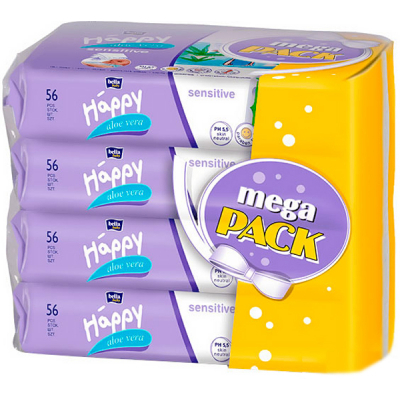 bella Baby Happy Sensetive Aloe Vera 56x4 паков Mega Pac 5900516015039
