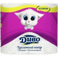 Туалетний папір Диво Econom 2-слойная белая 4 шт Фото