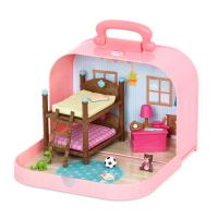 Игровой набор Li'l Woodzeez Кейс розовый, Двухэтажная кровать с аксессуарами Фото