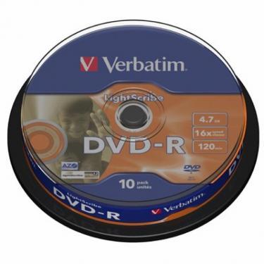 Диск DVD Verbatim 4.7Gb 16X CakeBox 10шт LightScribe (43643) - фото 1