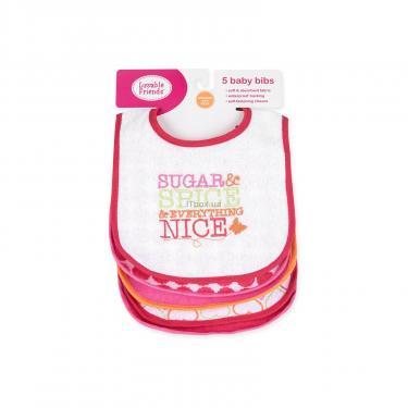 Слинявчик Luvable Friends 5 шт для девочек с надписями, розовый (2189-pink) - фото 9
