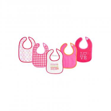 Слинявчик Luvable Friends 5 шт для девочек с надписями, розовый (2189-pink) - фото 1