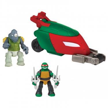 Игровой набор TMNT Черепашки-Ниндзя Micro Рафаэль и Рокстеди на мотоц Фото
