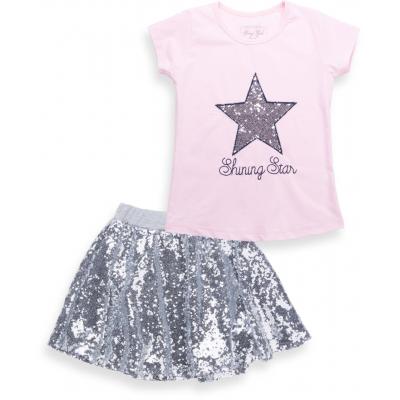 Набор детской одежды Breeze футболка со звездой и юбка в пайетках (9090-116G-pink)